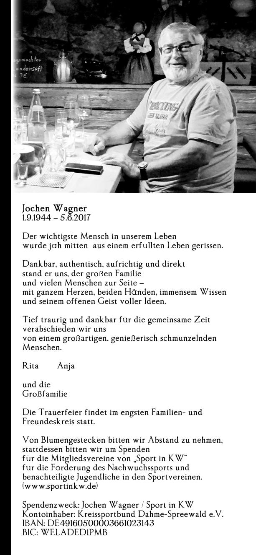 Traueranzeige Jochen Wagner