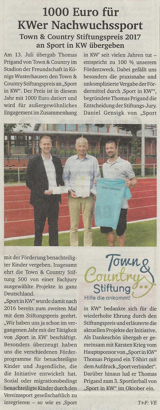 Scheckübergabe der Town und Country Stiftung