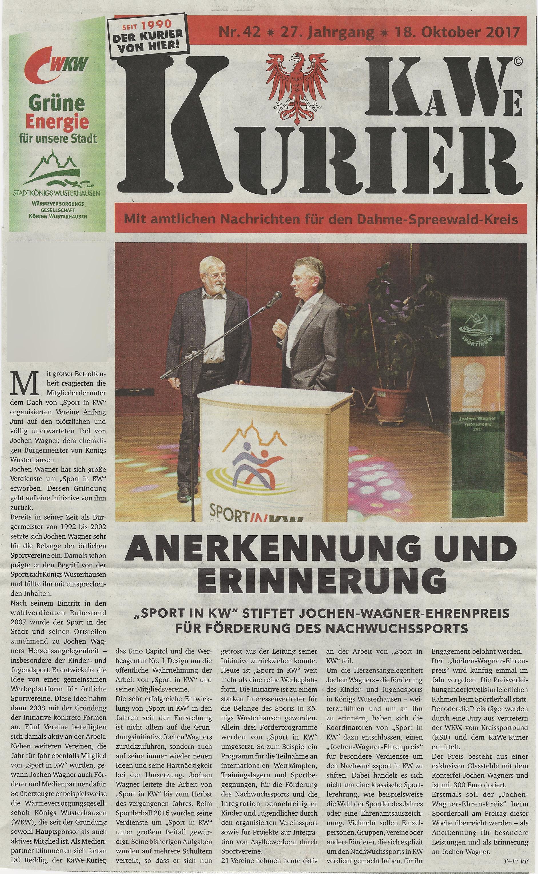 Jochen Wagner Ehrenpreis wird verliehen